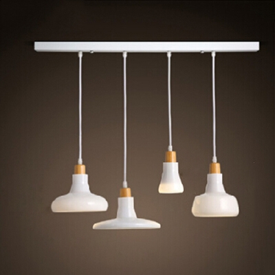 Industrial 4 Light Multi-Light Pendant Light with Glass Shade in Nordical Style