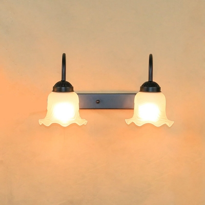 Industrial Vintage 2 Light Multi Light Wall Sconce with Scalloped Glass Shade