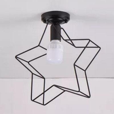 Industrial 11.6''W Flushmount Ceiling Light with Pentagram Metal Cage in Black