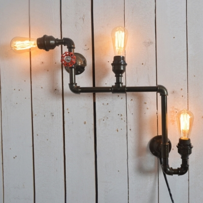 Industrial 26.8''W Multi Light Wall Sconce with Pipe Fixture Arm and Red Valve, 3 Light