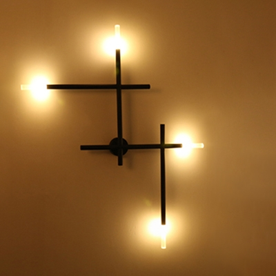 Industrial 35.5''W Multi Light Wall Sconce in Open Bulb Style - Black/Gold