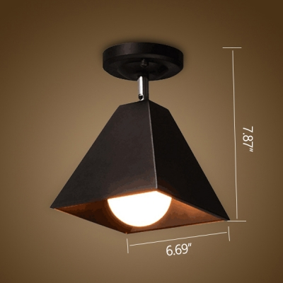 Industrial 6.7''W Semi-Flush Ceiling Light with Metal Shade in Black Finish
