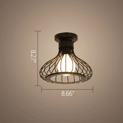 Industrial Flushmount Ceiling Light with 8.7''W Metal Cage in Black