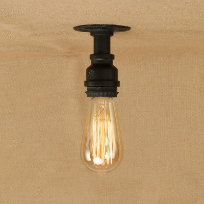 open ceiling lighting drop ceiling industrial simple flushmount ceiling light in open bulb style black