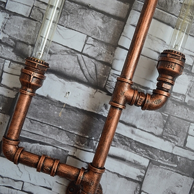 Industrial 5 Light Multi Light Wall Sconce with Pipe Fixture Arm in Bar Style, 28.7''W