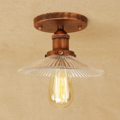 8 7 W Flushmount Ceiling Light With Ribbed Gl Shade In Vintage Style
