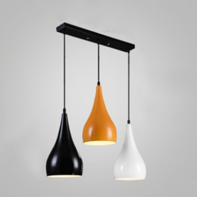 Industrial Colorful 3 Light Multi Light Pendant with Metal Shade in Nordical Style