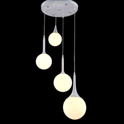 Baycheer / Industrial Nordical Multi Light Pendant with Globe Glass Shade in White Finish, 4 Light