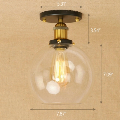 Industrial Vintage 8''W Flush Mount Ceiling Fixture with Globe Glass Shade in Black/Brass Finish