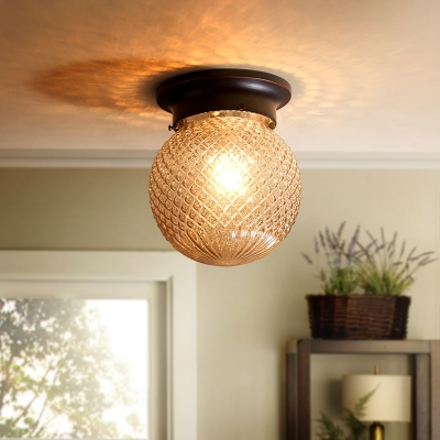 Industrial Vintage Flush Mount Ceiling Fixture with Globe Glass Shade in Amber