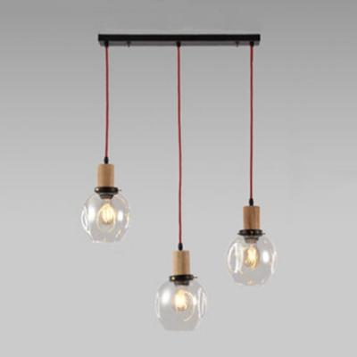 Industrial 3 Light Multi Light Pendant Light With Glass Shade