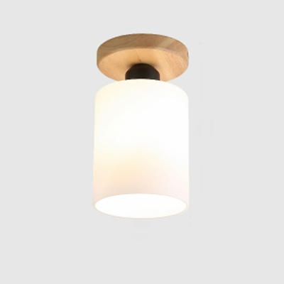 Industrial Flushmount Ceiling Light with 4.7''W Cylinder Glass Shade in Nordical Style