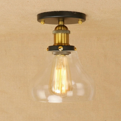 Industrial Vintage 7.1''W Flushmount Ceiling Light with Clear Glass Shade in Black/Brass Finish, HL461775