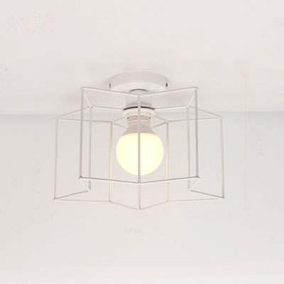 Industrial 12''W Flush Mount Ceiling Fixture with Metal Cage Frame in Black/White Finish
