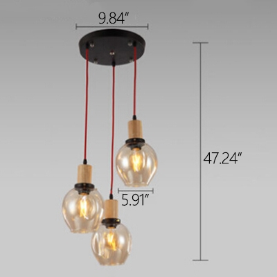 Industrial 3 Light Multi-Light Pendant Light with Glass Shade, Clear/Smoke/Amber