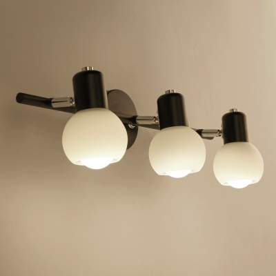Industrial 3 Light Multi Light Wall Sconce with Globe Glass Shade ...