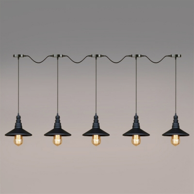 Industrial 5 Light Multi Light Pendant with Cone Metal Shade, Black