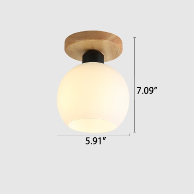 Industrial 6''W Flushmount Ceiling Light with Globe Glass Shade in White