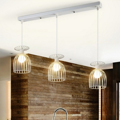 Industrial Nordical 24''W Multi-Light Pendant Light with White Metal Cage, 3 Light