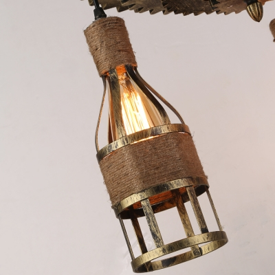 Industrial Vintage 3 Light Multi Light Pendant with Rope Shade and Gear in Bar Style