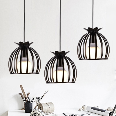 Industrial 3 Light Multi-Light Pendant Light with White Metal Cage