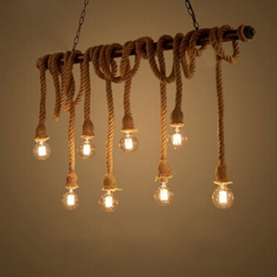 Industrial Large Multi-Light Pendant Light with Rope in Vintage Style, 8 Light