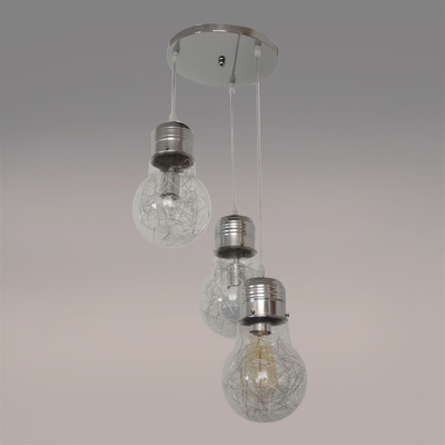 Industrial Simple Multi Light Pendant with Glass Shade, 3 Light