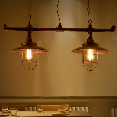Industrial 2 Light Multi Light Pendant with Metal Cage Frame in Pipe Style, Rust