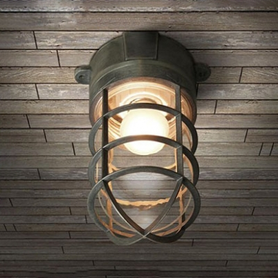 Industrial nautical flush mount ceiling fixture with glass shade and industrial nautical flush mount ceiling fixture with glass shade and metal cage frame in colorful finish aloadofball Image collections