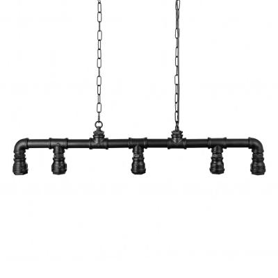 Industrial 5 Light Island Pendant in Wrought Iron Pipe Multi Light Chandelier in Black Finish