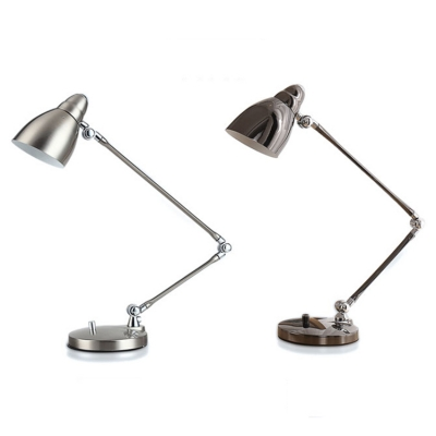 Industrial Simple Desk Lamp with Metal Shade and Adjustable Fixture Arm