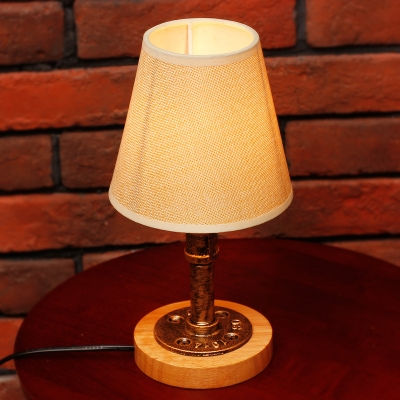 Industrial Vintage Table Lamp with Fabric Shade and Pipe Fixture Arm