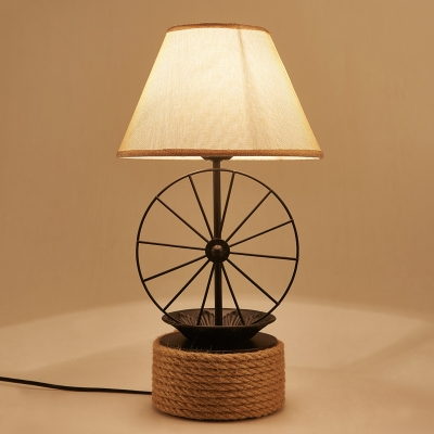Industrial 22.8''H Table Lamp with Fabric Shade in Vintage Style