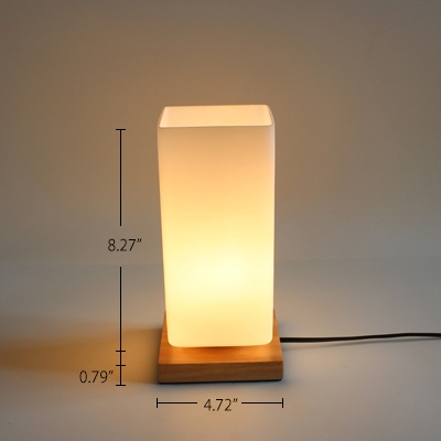Industrial 4.7''W Table Lamp with White Glass Shade and Wooden Lamp Base