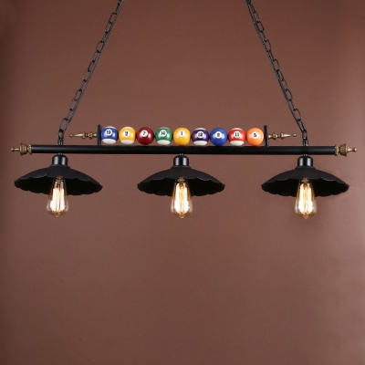 Industrial 38.6''W Island Light with Scalloped Metal Shade in Black Finish, 3 Light