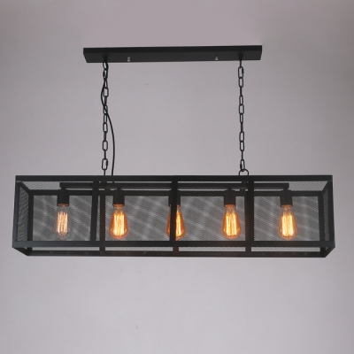 Industrial 39''W Island Light with 5 Light and Metal Cage in Bar Style, Black