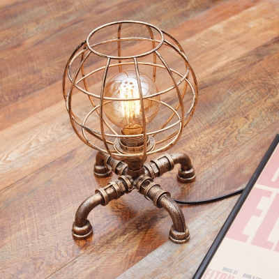 Industrial 9''W Table Lamp with Globe Metal Cage and Pipe Lamp Base, Antique Brass