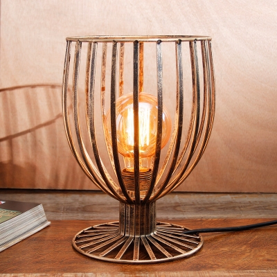 Industrial Vintage 7''W Table Lamp with Metal Cage in Black/Rust Finish