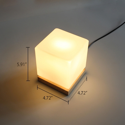 Industrial 5''W Table Lamp with Cube Glass Shade and Wooden Lamp Base