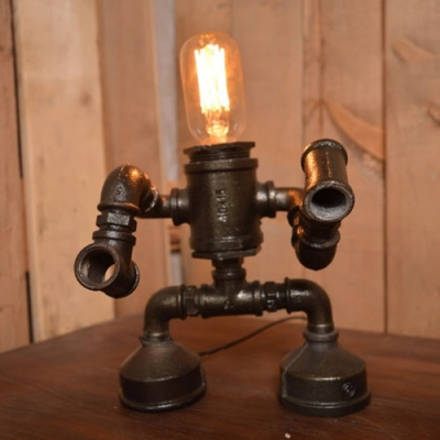 Industrial 8''W Robert Table Lamp with Pipe Lamp Base in Vintage Style