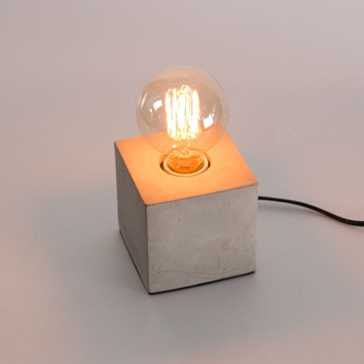 Industrial mini table lamp in open bulb style with cement lamp base aloadofball Image collections