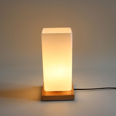 Industrial 4 7 W Table Lamp With White Glass Shade And Wooden Lamp