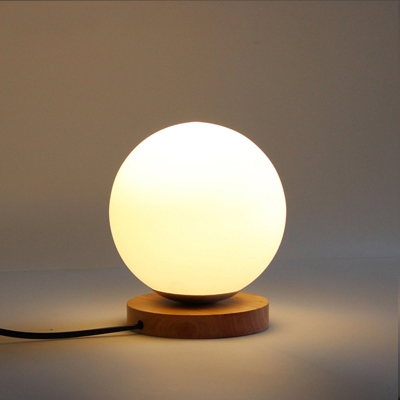 Industrial 6''W Table Lamp with Globe Glass Shade and Wooden Lamp Base
