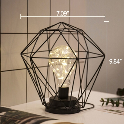 Industrial 7''W Table Lamp with Black Metal Cage in Nordical Style