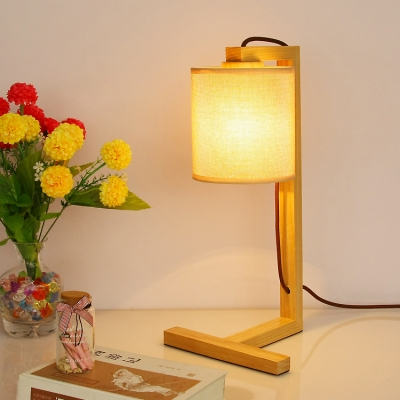 Table Lamp With Fabric Shade And Wooden