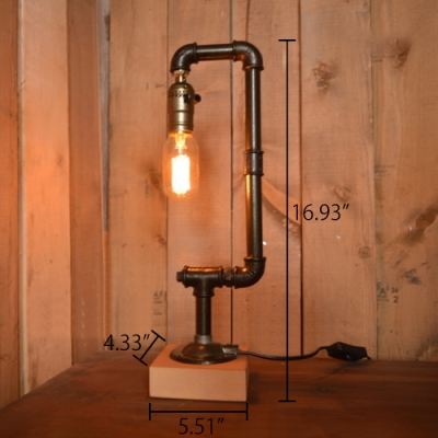 Industrial Vintage 17''H Table Lamp with Pipe Fixture Arm and Wooden Lamp Base