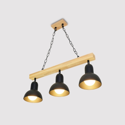 Industrial 3 Light Island Light with Bowl Metal Shade in Black/White Finish, 26.8''W