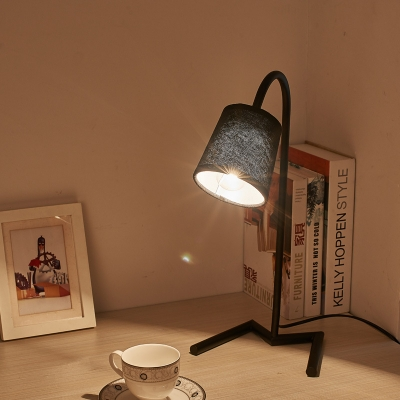 Industrial 13.3''W Desk Lamp with Fabric Shade in Black/White Finish
