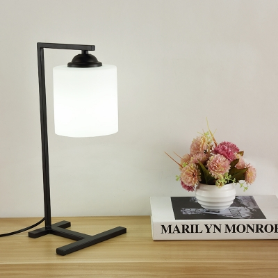 Industrial 17.7''H Desk Lamp with White Glass Shade in Nordical Style