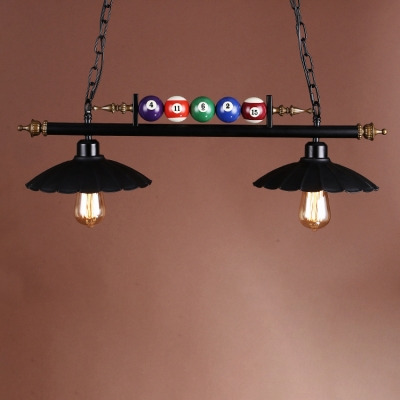 Industrial 30''W Island Light with Scalloped Metal Shade in Black Finish, 2 Light